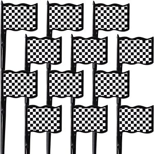 Black & White Checkered Flag Picks 12ct