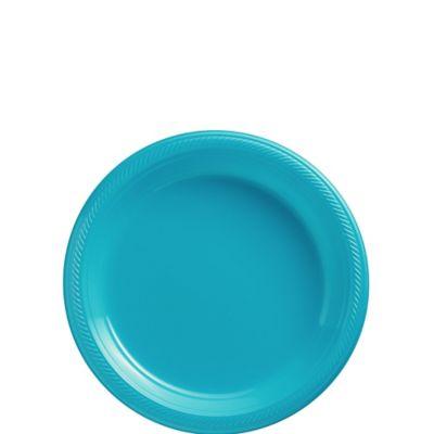 Caribbean Blue Plastic Dessert Plates 20ct
