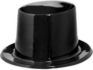 Black Plastic Top Hat 5in