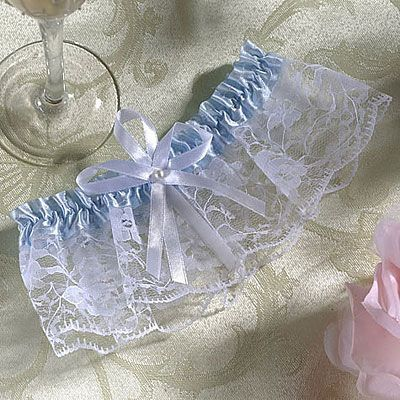 Full Figure Blue Heart Wedding Garter