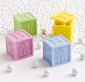 Baby Block Baby Shower Favor Boxes 4ct