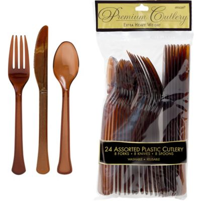 Chocolate Brown Premium Plastic Cutlery Set 24ct