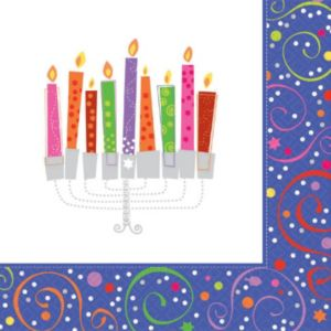 Playful Menorah Hanukkah Lunch Napkins 16ct