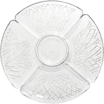 CLEAR Plastic Crystal Cut Sectional Platter