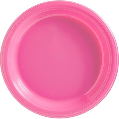 Bright Pink Plastic Dinner Plates 20ct