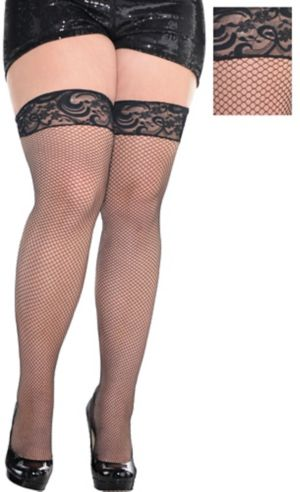 Adult Black Fishnet Thigh High Stockings Plus Size
