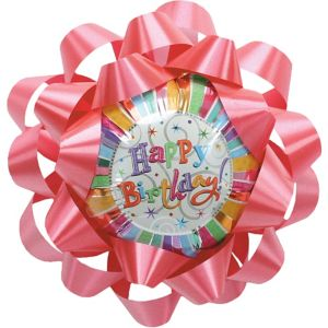 Pink Stripe Happy Birthday Balloon Gift Bow