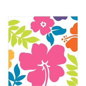 Hibiscus White Lunch Napkins 100ct