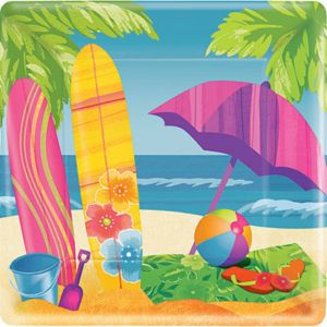 Surf's Up Square Dinner Plates 8ct