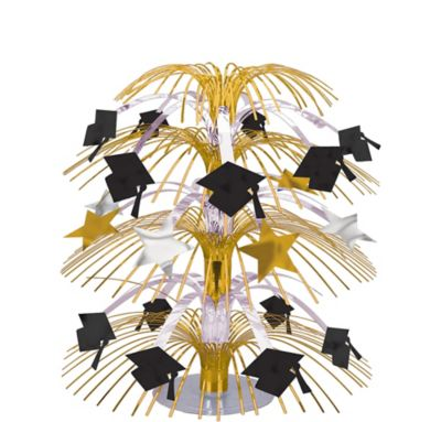 Black & Gold Graduation Cascade Centerpiece