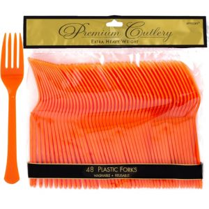 Orange Premium Plastic Forks 48ct