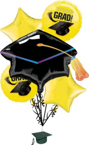 Yellow Graduation Balloon Bouquet 6pc