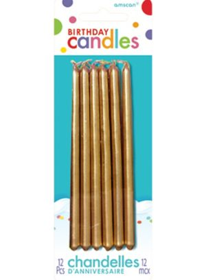 Gold Mini Taper Birthday Candles 5in 12ct
