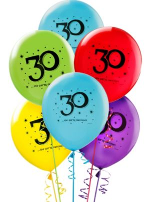 The Party Continues 30th Birthday Balloons 12in 15ct