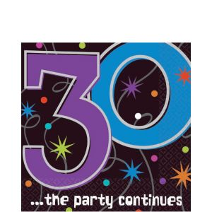 The Party Continues 30th Birthday Lunch Napkins 16ct