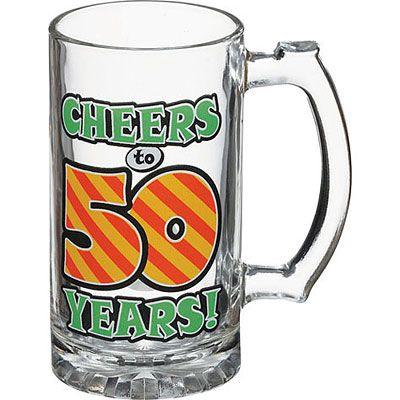 50th Birthday Glass Tankard