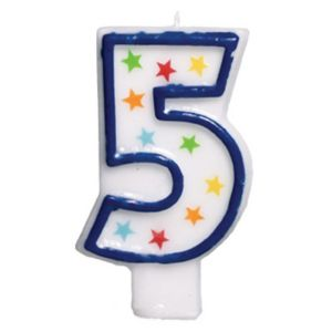 Glitter Blue Outline Number 5 Birthday Candle