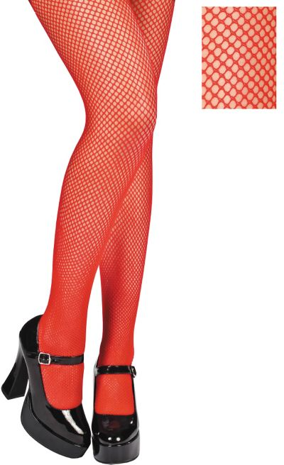 Adult Red Fishnet Pantyhose