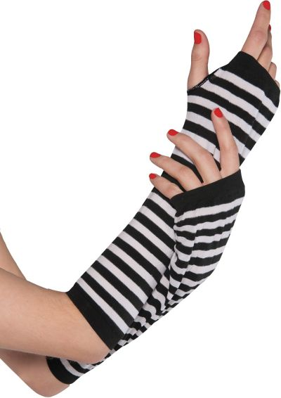 Black and White Striped Arm Warmers