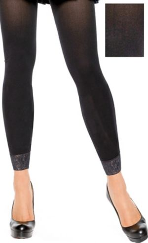 Adult Black Footless Tights with Lace Bottom