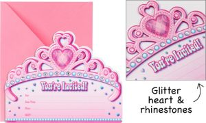 Premium Glitter Princess Invitations 8ct