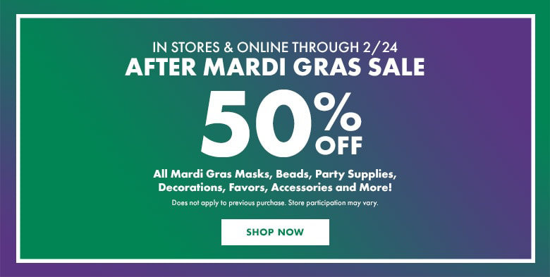 50% off Mardi Gras Party Supplies