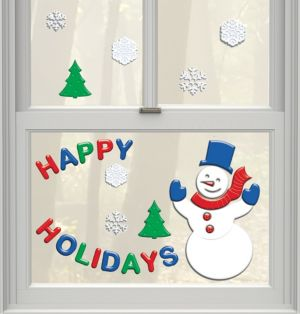 Happy Snowman Gel Cling Decals 30ct