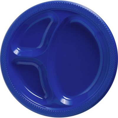 Royal Blue Plastic Divided Dinner Plates 20ct Paper