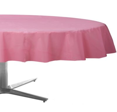 Pink Plastic Round Table Cover