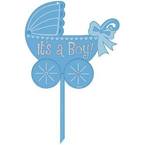 Boy Glitter Baby Shower Yard Sign 14in x 15in