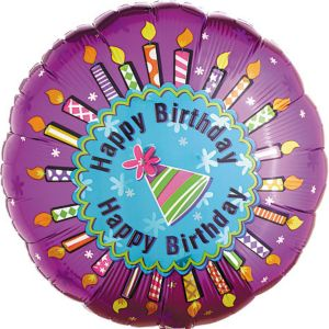 Foil Candles Happy Birthday Balloon 18in