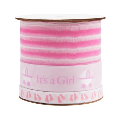 Pink Baby Shower Three Ribbon Spool