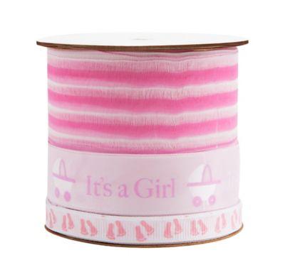 Pink Baby Shower Three Ribbon Spool