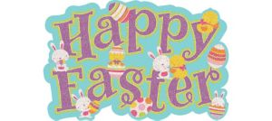 Glitter Happy Easter Cutout