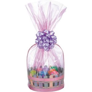 Pink Plastic Gift Basket Bags 2ct