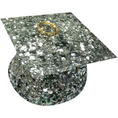 Silver Glitter Graduation Balloon Weight