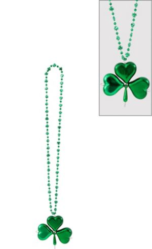 St. Patrick's Day Shamrock Pendant Bead Necklace