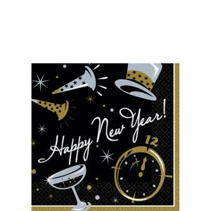 Black Tie New Year's Beverage Napkins 100ct