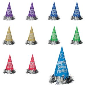 Colorful New Year's Cone Hat 12ct
