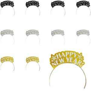 Black, Gold & Silver New Year's Tiaras 12ct