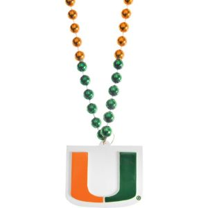 Miami Hurricanes Pendant Bead Necklace