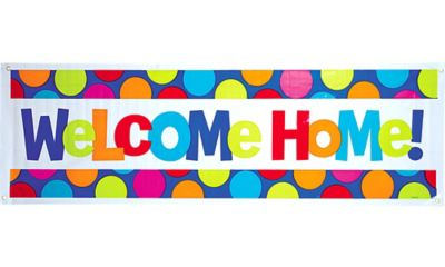 Cabana Polka Dot Welcome Home Giant Banner 65in x 20in