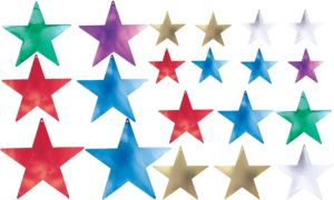 Assorted Multicolor Star Cutouts 20ct