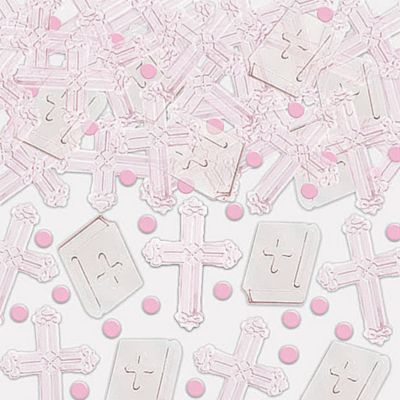 Pink Radiant Cross Religious Confetti