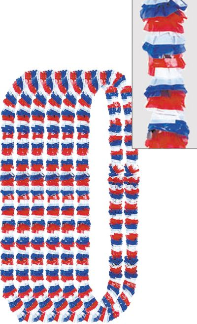 Red, White & Blue Poly Leis 12ct