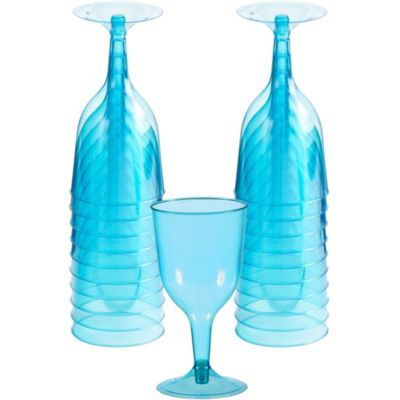 Transparent Blue Plastic Wine Glasses 20ct