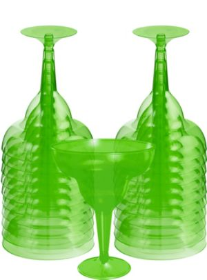 Transparent Kiwi Plastic Margarita Glasses 20ct