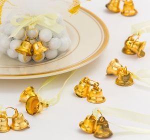 Gold Double Bell Favor Charms