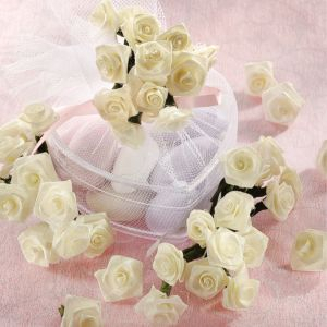 Ivory Ribbon Rose Favor Accents