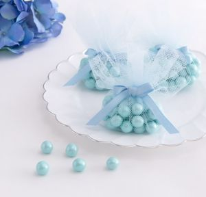 Blue Tulle Baby Shower Favor Circles 24ct